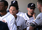 Reno Aces' Ildemaro Vargas returns to the dugout after scoring against the Tacoma Rainiers at Greater Nevada Field in Reno, Nev., on Sunday, Aug. 28, 2016. <br /> Photo by Cathleen Allison
