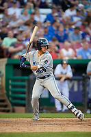 West Michigan Whitecaps designated hitter Dylan Rosa (24) at bat during a game against the Kane County Cougars on July 19, 2018 at Northwestern Medicine Field in Geneva, Illinois.  Kane County defeated West Michigan 8-5.  (Mike Janes/Four Seam Images)