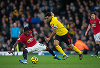 Troy Deeney of Watford & Fred of Man Utd during the Premier League match between Watford and Manchester United at Vicarage Road, Watford, England on 22 December 2019. Photo by Andy Rowland.
