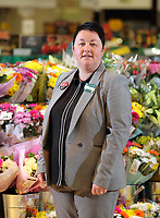Leah James, the manager of Morrisons super market in Rogerstone near Newport, Wales, UK