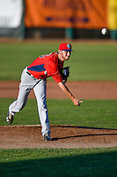 Orem Owlz starting pitcher Austin Robichaux (25) delivers a pitch to the plate against the Ogden Raptors in Pioneer League action at Lindquist Field on June 27, 2016 in Ogden, Utah. Orem defeated Ogden 4-3. (Stephen Smith/Four Seam Images)