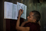 18 JUNE 2015, Mandalay, Myanmar:  A student monk listens to 969 activist Monk Wirathu during a lecture to other monks at his quarters in the Masoeyein Monastery in Mandalay, Myanmar. Picture Graham Crouch/The Australian Magazine