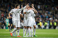Real Madrid´s James Rodriguez celebrates a goal with his team mates during Spanish King Cup match between Real Madrid and Cornella at Santiago Bernabeu stadium in Madrid, Spain.December 2, 2014. (NortePhoto/ALTERPHOTOS/Victor Blanco)