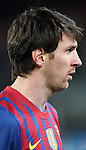 Lionel Messi of FC Barcelona conducts an interview after the UEFA Champions League round of 16 second leg match between FC Barcelona and Bayern 04 Leverkusen at Camp Nou on March 7, 2012 in Barcelona, Spain. FC Barcelona won 7-1 and Lionel Messi scored 5 goals.