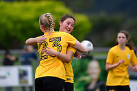 Samantha Whyte celebrates a goal with team mates during the Handa Women's Premiership - Capital Football v Southern United at Petone Memorial Park, Wellington on Saturday 7 November 2020.<br /> Copyright photo: Masanori Udagawa /  www.photosport.nz