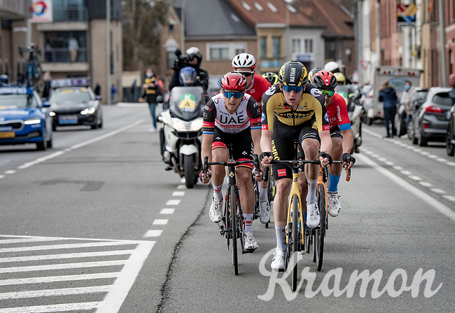 Nathan van Hooydonck (BEL/Jumbo-Visma) setting the tempo in the lead group in the race finale<br /> <br /> 83rd Gent-Wevelgem - in Flanders Fields (ME - 1.UWT)<br /> 1 day race from Ieper to Wevelgem (BEL): 254km<br /> <br /> ©kramon