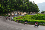 The peloton descend during Stage 8 of the 2021 Tour de France, running 150.8km from Oyonnax to Le Grand-Bornand, France. 3rd July 2021.  <br /> Picture: A.S.O./Charly Lopez | Cyclefile<br /> <br /> All photos usage must carry mandatory copyright credit (© Cyclefile | A.S.O./Charly Lopez)