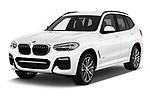 2018 BMW X3 M-Sport 5 Door SUV Angular Front stock photos of front three quarter view