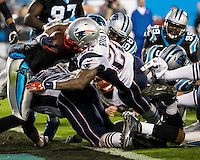 The Carolina Panthers play the New England Patriots at Bank of America Stadium in Charlotte North Carolina on Monday Night Football.  The Panthers defeated the Patriots 24-20.  New England Patriots running back Stevan Ridley (22) scores the Patriots second touchdown