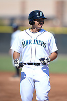 Seattle Mariners outfielder Alex Jackson (14) during an Instructional League game against the Milwaukee Brewers on October 4, 2014 at Peoria Stadium Training Complex in Peoria, Arizona.  (Mike Janes/Four Seam Images)
