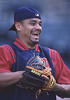 Luis Rivas of the Minnesota Twins during a 2001 season MLB game at Angel Stadium in Anaheim, California. (Larry Goren/Four Seam Images)