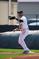 Clinton LumberKings first baseman Pat Leyland (23) waits for a throw during a game against the Great Lakes Loons on August 16, 2015 at Ashford University Field in Clinton, Iowa.  Great Lakes defeated Clinton 3-2.  (Mike Janes/Four Seam Images)