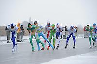 MARATHONSCHAATSEN: ELBURG: Veluwemeer,  25-01-2013, Schaatsseizoen 2012-2013, KPN NK Marathon Natuurijs, Simon Schouten (A38), Bob de Vries (A1), ©foto Martin de Jong