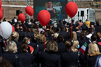Max Giusti (Actor).<br /> <br /> Rome, Italy. 05th May, 2021. Today, Alitalia workers, held a demonstration in Piazza del Popolo to mark the 74th Anniversary of Alitalia which saw its first flight: Torino - Roma - Catania, using an airplane FIAT G-12, on the 5th May 1947. The flag carrier of Italy was founded on the 16th September 1946 as Alitalia - Aerolinee Italiane Internazionali - but recently a plan to dismantle it has been under discussion between Mario Draghi's Italian Government and the European Union (EU - UE). The plan is to make Alitalia as a small and regional airline with a different name - while it is still one of the biggest airport slots owner in the world -, and to lay-off the majority of the workers - about 11,000 - of the Italian historical air company.   <br /> <br /> Footnotes & Links:<br /> Previous Demos:<br /> 23.04.2021 - Alitalia Workers Protest At Rome's Fiumicino Airport https://lucaneve.photoshelter.com/gallery/23-04-2021-Alitalia-Workers-Protest-At-Romes-Fiumicino-Airport/G0000I0vNSqRTV.Q/C0000GPpTqAGd2Gg<br /> 16.04.2021 - Alitalia Workers Protest At Fori Imperiali and Campidoglio https://lucaneve.photoshelter.com/gallery/16-04-2021-Alitalia-Workers-Protest-At-Fori-Imperiali-and-Campidoglio/G0000unf5F2yc0Ts/C0000GPpTqAGd2Gg<br /> 03.03.2021 - Alitalia Workers Protest Outside Italian Ministry Of Transport https://lucaneve.photoshelter.com/gallery/03-03-2021-Alitalia-Workers-Protest-Outside-Italian-Ministry-Of-Transport/G0000JI_TNBKDjz8/C0000GPpTqAGd2Gg