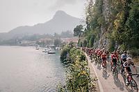 peloton next to Lake Como<br /> <br /> 112th Il Lombardia 2018 (ITA)<br /> from Bergamo to Como: 241km