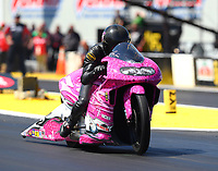 Mar 17, 2017; Gainesville , FL, USA; NHRA pro stock motorcycle rider Jerry Savoie during qualifying for the Gatornationals at Gainesville Raceway. Mandatory Credit: Mark J. Rebilas-USA TODAY Sports