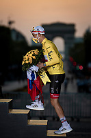 Tadej Pogačar (SVN/UAE-Emirates) wins the 2020 Tour de France + the polka dot jersey + the white jersey as best young rider...<br /> <br /> Stage 21 from Mantes-la-Jolie to Paris (122km)<br /> <br /> 107th Tour de France 2020 (2.UWT)<br /> (the 'postponed edition' held in september)<br /> <br /> ©kramon