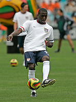 The USA's Jozy Altidore during warmups. The national team of the United States (USA) defeated South Africa (RSA) 1-0 in an international friendly dubbed the Nelson Mandela Challenge at Ellis Park Stadium in Johannesburg, South Africa on November 17, 2007.