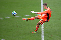 LOS ANGELES, CA - OCTOBER 25: Jonathan Klinsmann #33 goalkeeper of the Los Angeles Galaxy clears a ball during a game between Los Angeles Galaxy and Los Angeles FC at Banc of California Stadium on October 25, 2020 in Los Angeles, California.