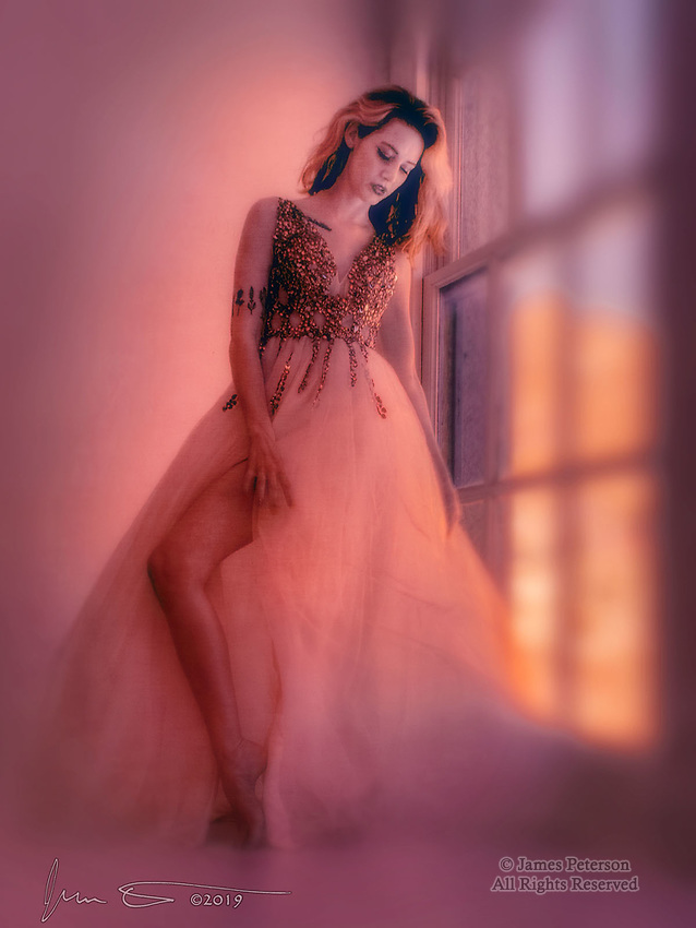 Ghost Town Belle (Infrared) ©2019 James D Peterson.  Last summer I described our beautiful model Ortrun as The Belle of The Ghost Town Ball, after her first photo shoot with us in Jerome, Arizona.  She's reprising that role here during a recent photo session at Red Bench Studio in the old Jerome High School.  As always, she gives us a look that's uniquely hers.