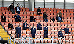 Dundee United v St Johnstone…..01.08.20   Tannadice  SPFL<br />Social distancing in the directors area, pictured front row from left, Charlie Fraser St Johnstone vice-chairman, Steve Brown St Johnstone Chairman, Stan Harris St Johnstone Director, Roddy Grant St Johnstone Associate Director and Geoff Brown St Johnstone owner.<br />Picture by Graeme Hart.<br />Copyright Perthshire Picture Agency<br />Tel: 01738 623350  Mobile: 07990 594431