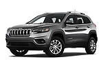 Stock pictures of low aggressive front three quarter view of a 2019 Jeep Cherokee Latitude Plus 4X4 5 Door SUV