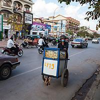 Cambodia, Street Vendor, Siem Reap Street Scene.