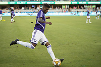 SAN JOSE,  - AUGUST 31: Carlos Ascues #26 of the Orlando City SC during a game between Orlando City SC and San Jose Earthquakes at Avaya Stadium on September 1, 2019 in San Jose, .