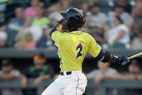 Shortstop Ronny Mauricio (2) of the Columbia Fireflies bats in a game against the Augusta GreenJackets on Friday, May 31, 2019, at Segra Park in Columbia, South Carolina. Augusta won, 8-6. (Tom Priddy/Four Seam Images)