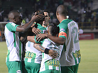 TUNJA - COLOMBIA - 15 - 02 - 2018: Los jugadores Atletico Nacional, celebran el gol anotado a Patriotas F. C., durante partido entre Patriotas FC y Atletico Nacional, de la fecha 3 por la Liga de Aguila I 2018 en el estadio La Independencia en la ciudad de Tunja. / The players of Atletico Nacional, celebrate a scored goal to Patriotas F. C., during a match between Patriotas F. C. and Atletico Nacional, of the date 3rd for the Liga de Aguila I 2018 at La Independencia stadium in Tunja city. Photo: VizzorImage  /  Jose Miguel Palencia / Cont.