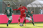 22.11.2020, Dietmar-Scholze-Stadion an der Lohmuehle, Luebeck, GER, 3. Liga, VfB Luebeck vs FC Bayern Muenchen II <br /> <br /> im Bild / picture shows <br /> Leon Dajaku (FC Bayern Muenchen II) im Zweikampf gegen Florian Riedel (VfB Luebeck) <br /> <br /> DFB REGULATIONS PROHIBIT ANY USE OF PHOTOGRAPHS AS IMAGE SEQUENCES AND/OR QUASI-VIDEO.<br /> <br /> Foto © nordphoto / Tauchnitz