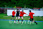 Park FC's Greg Scanlon and Liam Tobin of Elton Wanderers tussle for possession in their soccer game on Friday.