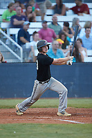 James Goodwin (23) (Virginia State) of the Concord A's follows through on his swing against the Mooresville Spinners at Moor Park on July 31, 2020 in Mooresville, NC. The Spinners defeated the Athletics 6-3 in a game called after 6 innings due to rain. (Brian Westerholt/Four Seam Images)