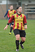 20160116 - ZULTE , BELGIUM : KV Mechelen's Shari Nijs  pictured during a soccer match between the women teams of Famkes Merkem B and Yellow-Red KV Mechelen  , during the matchday in the Tirth League - Derde Nationale season, Saturday 13 February 2016 . PHOTO DIRK VUYLSTEKE
