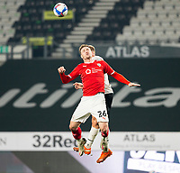 7th November 2020; Pride Park, Derby, East Midlands; English Football League Championship Football, Derby County versus Barnsley; Michael Sollbauer of Barnsley and Martyn Waghorn of Derby County jump in the air for a header