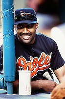 Harold Baines of the Baltimore Orioles during a game against the Anaheim Angels at Angel Stadium circa 1999 in Anaheim, California. (Larry Goren/Four Seam Images)