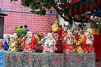 George Town, Penang, Malaysia.  Budai, Happy Buddhas for Sale outside  Goddess of Mercy Temple, Kuan Yin Teng, Kong Hock Keong.