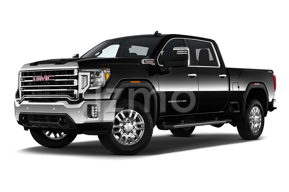 Stock pictures of low aggressive front three quarter view of 2020 GMC Sierra-2500-HD SLT 4 Door Pick-up Low Aggressive