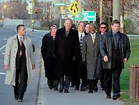 OTTAWA , November 17th 2001 FILE PHOTO<br /> <br /> RCMP body guard escort <br />  UN General secretary Kofi Annan (M), Canadian Prime Minister Jean Chretien (L), and unidentified Ministers  to a private meeting  , outside the G-20 perimeter , on the 2nd day of the G-20 summit in Ottawa, CANADA, November 17th, 2001<br /> <br /> Annan is the UN secretary-general since 199), born in Kumasi, Ghana. He studied in the USA and Switzerland, joining the UN in 1962, and held posts in the High Commission for Refugees and the World Health Organization. After joining the UN secretariat, he became (1993) under-secretary -general for peacekeeping operations. He replaced Boutros Boutros-Ghali to become the first secretary-general from sub-Saharan Africa.