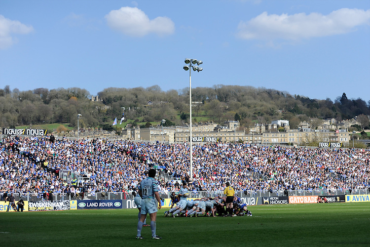 General view of a scrum during the Aviva Premiership match between Bath Rugby and Leicester Tigers at The Recreation Ground on Saturday 20th April 2013 (Photo by Rob Munro)