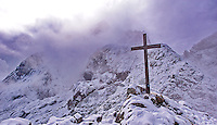 Cross on Alpspitze in Bavaria, Germany.