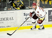 12 November 2010: Boston College Eagle defenseman Brian Dumoulin, a Sophomore from Biddeford, ME, in action against the University of Vermont Catamounts at Gutterson Fieldhouse in Burlington, Vermont. The Eagles edged out the Cats 3-2 in the first game of their weekend series. Mandatory Credit: Ed Wolfstein Photo