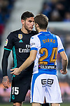 Theo Hernandez of Real Madrid confronts with Darko Brasanac of CD Leganes during the Copa del Rey 2017-18 match between CD Leganes and Real Madrid at Estadio Municipal Butarque on 18 January 2018 in Leganes, Spain. Photo by Diego Gonzalez / Power Sport Images