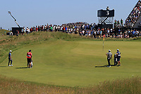 18th July 2021; Royal St Georges Golf Club, Sandwich, Kent, England; The Open Championship,  Golf, Day Four; Collin Morikawa (USA) and Louis Oosthuizen (RSA) at the par three 3rd hole