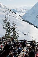 Terrace of restaurant 'Le Relais de l'Aiguille', La Clusaz, France, 14 February 2012.