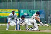 23rd September 2021; Aigburth, Liverpool, Merseyside, England; LV=Country Cricket Championship; Lancashire versus Hampshire; Lancashire batsman Luke Wells hits out as Lancashire chase a target of 196 to put them in with a chance of winning the Championship