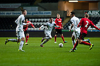 Monday 20 January 2014<br /> Pictured: Scott Tancock makes a run with the ball <br /> Re: Swansea City U21 v Cardiff City U21 at the Liberty Stadium, Swansea Wales
