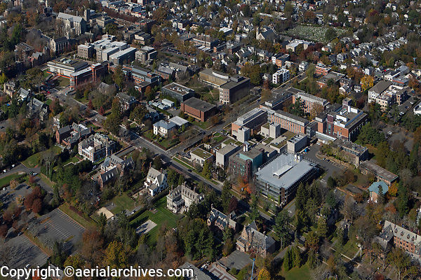 aerial photograph of Princeton University, Princeton, Mercer County, New Jersey during the fall