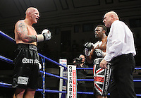 Butlin protests to the referee after saying that Chisora had bitten him during the bout - Derek Chisora (Finchley, Union Jack shorts) defeats Paul Butlin (Melton Mowbray, black shorts) in a Heavyweight boxing contest at York Hall, Bethnal Green, promoted by Frank Warren / Sports Network - 22/05/09 - MANDATORY CREDIT: Gavin Ellis/TGSPHOTO - Self billing applies where appropriate - 0845 094 6026 - contact@tgsphoto.co.uk - NO UNPAID USE.