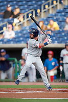 Fort Myers Miracle catcher Mitchell Kranson (15) at bat during a game against the Clearwater Threshers on May 31, 2018 at Spectrum Field in Clearwater, Florida.  Clearwater defeated Fort Myers 5-1.  (Mike Janes/Four Seam Images)